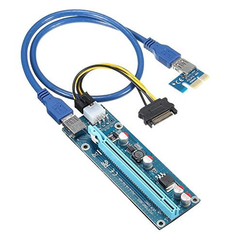 QNINE PCIe Riser 8 Pack, GPU Riser Adapter Card, PCI Express 1X to 16X Extender, Mining Graphics Card USB 3.0 Extension & 6pin MOLEX to SATA Power Cable for Ethereum Bitcoin Litecoin Device by QNINE (Image #1)