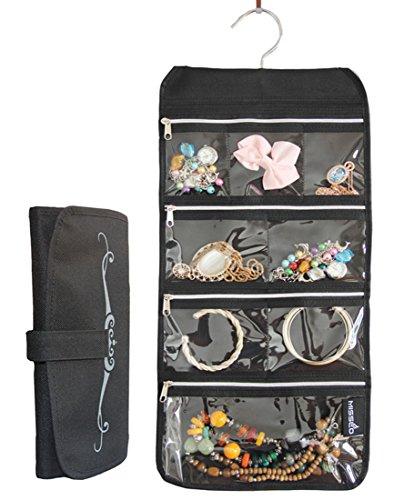 Misslo 8 Zippered Pockets Travel Jewelry Roll Up Organizer