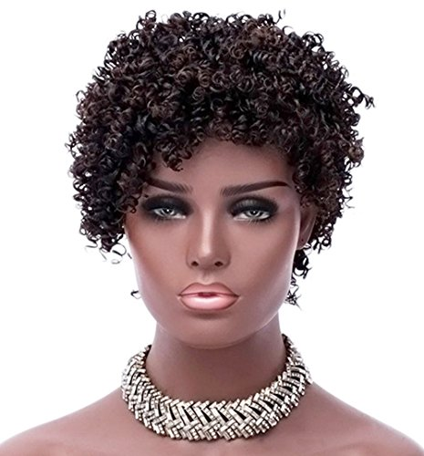 Beauty : YOURWIGS Wigs for Black Women Short Afro Hair Wig Kinky Curly Synthetic Wigs Super Light with Wig Cap 10'' (Black) Z092