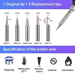 Soldering Iron Kit Electronics, JayLene 60W Adjustable Temperature Welding Tool, 5pcs Soldering Tips, Desoldering Pump, Soldering Iron Stand, Tweezers