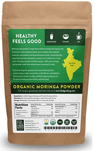 Organic Moringa Leaf Powder - 16oz Resealable Bag (1lb) - 100% Raw From India - by Feel Good Organics