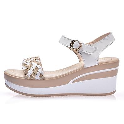 99284a9f042839 VWU Femme Été Plage Les Bretelles Cuir Talons Moyens Chaussures Bout Ouvert  Sandales Compensées (35
