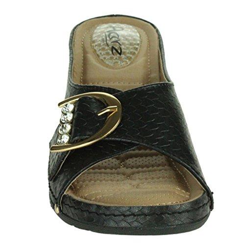 Mujer Señoras Detalle de la hebilla Almohadilla de gel Tacón Absorción de impactos Casual Ponerse Tacón de cuña Sandalias Zapatos Talla Negro