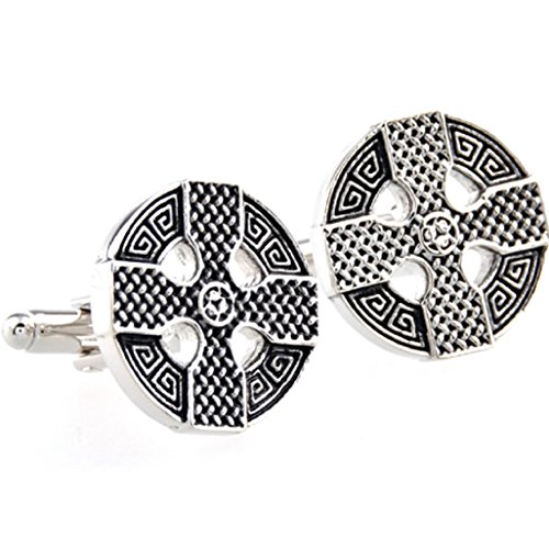 (MRCUFF Celtic Cross Irish Ireland Cufflinks Pair in a Presentation Gift Box & Polishing Cloth)