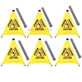 6-Pack 20'' Pop-up Safety Cone Yellow Plastic Caution Wet Floor Signs with Storage Tubes Wholesale
