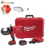 Milwaukee M18 18-Volt Lithium-Ion Cordless FORCE LOGIC 750 MCM Crimper W/(2) Batteries, Charger, Hard Case 2779-22 and Toucan City Nitrile Dip Gloves (5-Pack), Safety Goggles