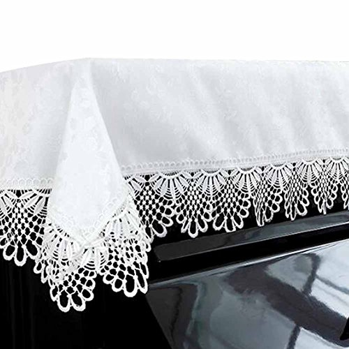 (Dustproof Piano Cloth Piano Cover Lace Upright Piano Dust Cover White PianoTowel)