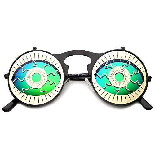 zeroUV - Party Eyeball Flip-Up Cover Colored Mirror Lens Round Novelty Sunglasses 47mm (Contact Lenses Coloured Halloween)