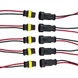 Qiorange 2 Pin Way Car Auto Waterproof Electrical Connector Plug Socket Kit with Wire AWG Gauge Marine Pack (2 Pin 5 Set)