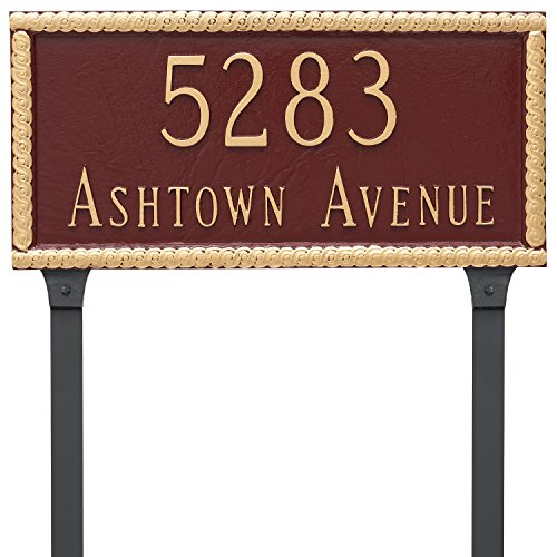 "Harrison Rectangle Two Line Address Sign Plaque with Lawn Stake, 8"" x 16.75"", Black/Gold - Montague Metal PCS-0073S2-L-BG"