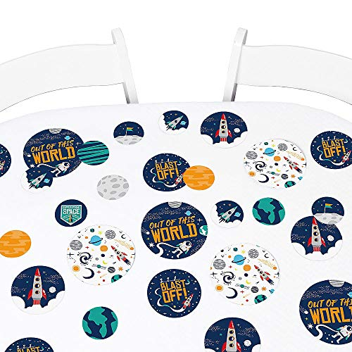 Big Dot of Happiness Blast Off to Outer Space - Rocket Ship Baby Shower or Birthday Party Giant Circle Confetti - Party Decorations - Large Confetti 27 Count (Confetti Rockets)