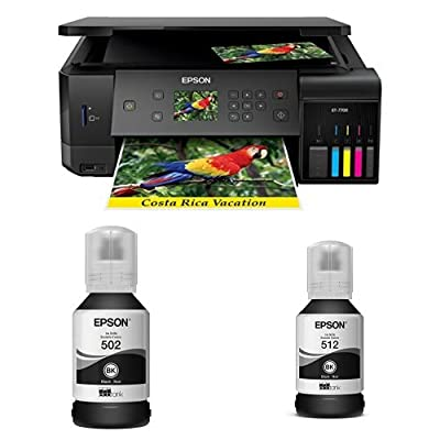 Epson Expression Premium ET-7700 EcoTank Wireless 5-Color Supertank Printer with Scanner, Copier, Ethernet with T502 Black Auto-Stop Ink Bottle and T512 Black Auto-Stop Ink Bottle