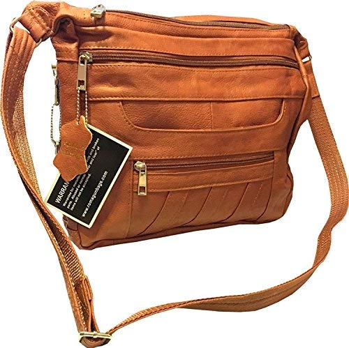 Leather Concealed Carry Crossbody Purse - YKK Locking CCW Ambidextrous Gun Bag Roma 7082, Light Brown
