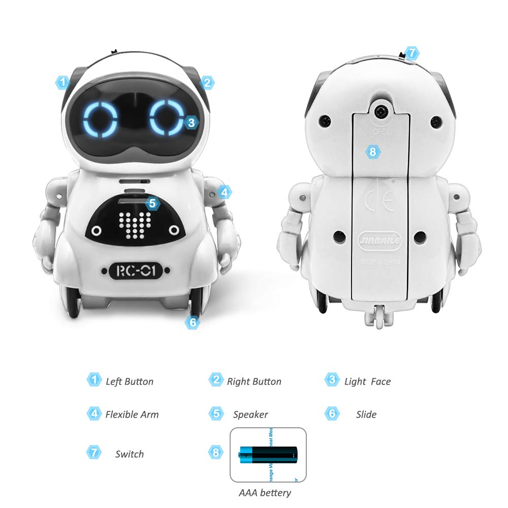 Dance and Change Voice and Repeat,for Boys and Girls Best Birthday, Funnyletric Pocket Robot for Kids White Speech Recognition Educational Intelligent Mini Robot Toy for Boys and Girls/' Best Birthday SG/_B07DQPFSC4/_US Voice Conversation