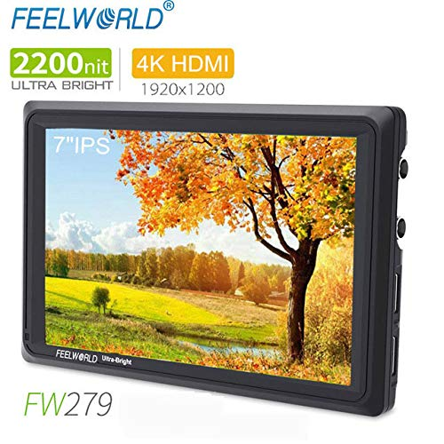 FEELWORLD FW279 7 Inch On Camera DSLR Field Monitor Full HD Focus Video Assist 1920x1200 IPS with 4K HDMI 3G SDI Input Output 2200nit High Brightness