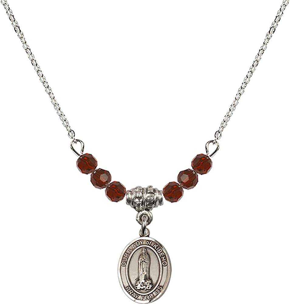 18-Inch Rhodium Plated Necklace with 4mm Garnet Birthstone Beads and Sterling Silver Our Lady of Kibeho Charm.