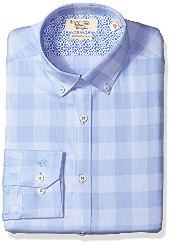 Original Penguin Men's Slim Fit Performance Spread Collar Check Dress Shirt, Light Blue Check, 17.5 36/37 by Original Penguin