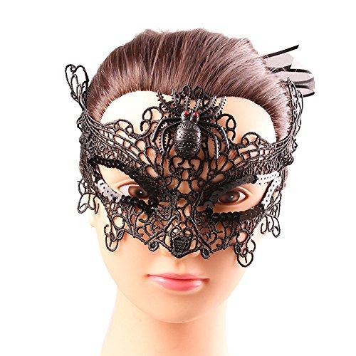 [Women's Halloween Party Lace Mask Vampire Masquerade Mask Fox Masquerade Black Spider] (Peacock Spider Costume)