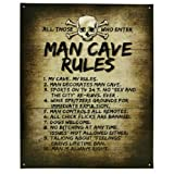 """Crystal Art 98414 Sign of The Times Man Cave Man Cave Rules Tin Sign Wall Décor, 12""""x 15"""""""