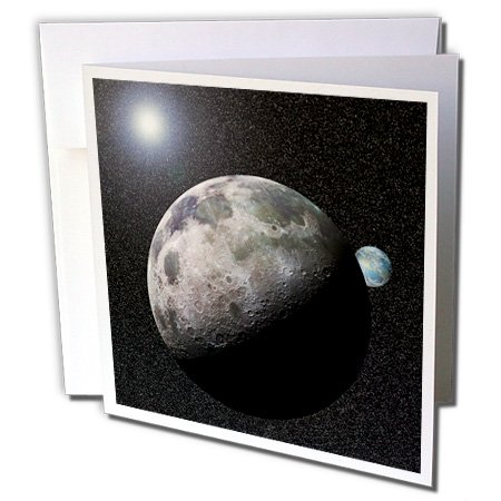 3dRose Moon Dance solar system scene of planet Earth and moon dancing in space orbit - Greeting Cards, 6 x 6 inches, set of 6 (gc_19949_1) ()