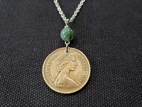 CoinageArt British Queen Elizabeth II Coin Necklace 2 Pence from Great Britain dated 1980 with Moss Agate Gemstone on Brilliant Stainless Steel Chain - 39th Birthday Necklace 602