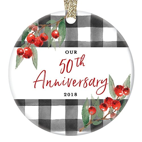 50th Anniversary Ornament Christmas 2018 Married Couple Celebrate 50 Fifty Years Fiftieth Golden Wedding Together Porcelain Keepsake 3