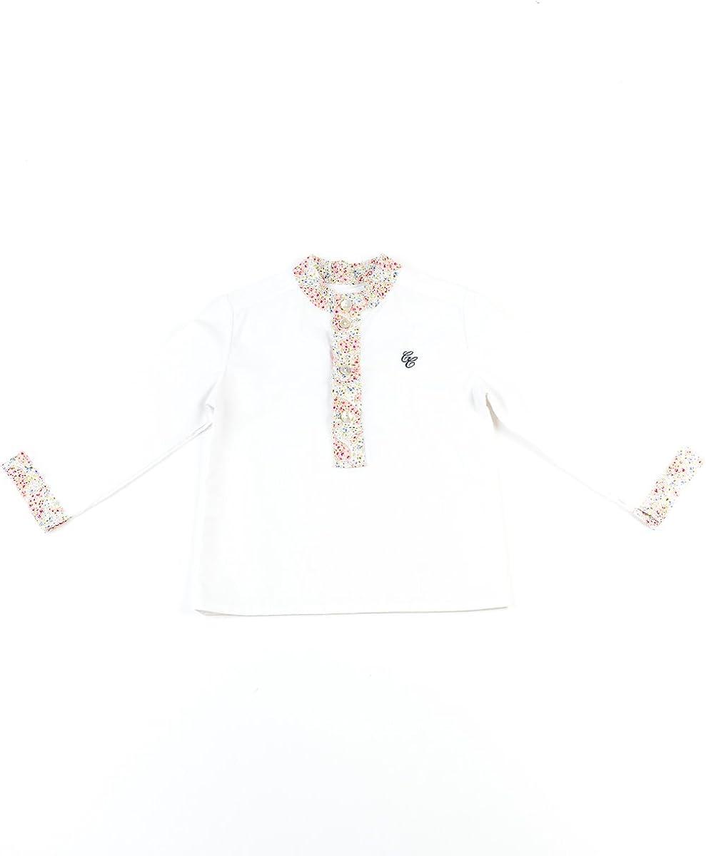 Cayetana Caudet - Camisa para niño - blanca, talla 12 meses, color cachemir salmón: Amazon.es: Bebé