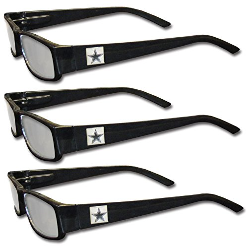 NFL Dallas Cowboys Adult Reading Glasses (3-Pack), Black, Reading Power: - Dallas Reading Glasses