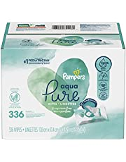 Baby Wipes, Pampers Aqua Pure 6X Pop-Top Sensitive Water Baby Wipes, Hypoallergenic and Unscented, 336 Count (Packaging May Vary)