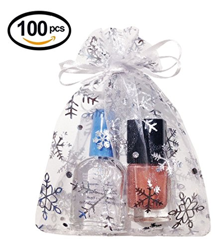 Wuligirl 100 PCS Snow White Organza Gift Bags with Drawstring Party Wedding Favor Gift Bags Candy Jewelry Bags (Snow White 100 pcs, 3.54x4.72