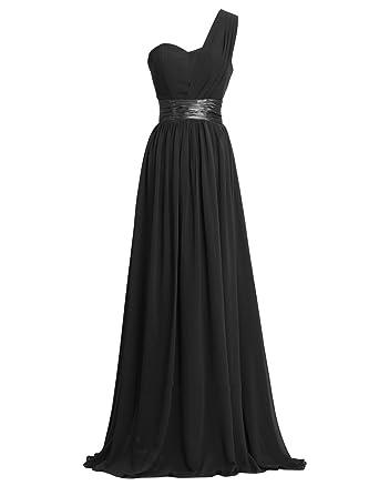 2c0bdbda4d1 Loffy Women's One Shoulder Chiffon Long Evening Dress Floor Length Trailing  Bridesmaid Dress Black Size 2