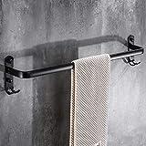 XJ&DD Bathroom Space Aluminum Rust Towel bar,Black Matte Single Pole Towel Rack,American Double Pole with Hook Towel Rack Punch Free Punch Double use-C 60cm(24inch)