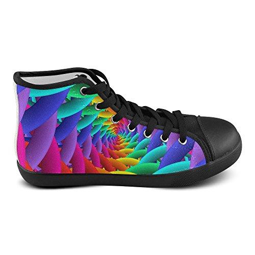 Artsadd Psychedelische Regenboog Spiraal Canvas Schoenen Mannen Hoge Canvas Schoenen Voor Mannen (model002)