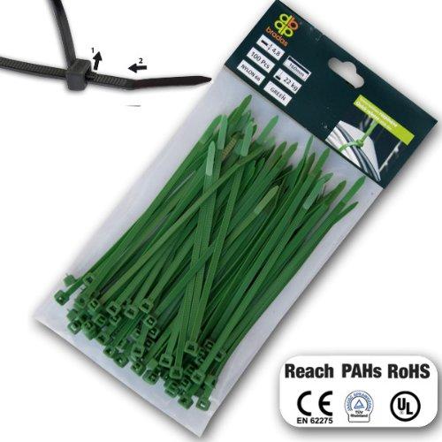 Profi Kabelbinder lösbar grün 4,8 x 160mm wiederlösbar wiederverwendbar 100 Stk