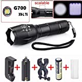 Leewa 2000LM Zoomable XM-L T6 LED Military Tactical Flashlight Torch 1 x AC Sigle Slot Charger +1 x 18650 3200mAh 3.7V Rechargeable Batery (inside the flashlight) +1 x Free AC Adapter