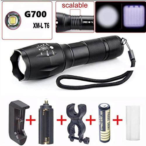 Leewa 2000LM Zoomable XM-L T6 LED Military Tactical Flashlight Torch 1 x AC Sigle Slot Charger +1 x 18650 3200mAh 3.7V Rechargeable Batery (inside the flashlight) +1 x Free AC Adapter by Leewa