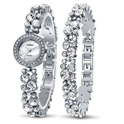 Time100 Women's Watches Bracelet Diamond Round Dial Watch Ladies Fashion Dress Watches Wrist watches for women (Silver) ()