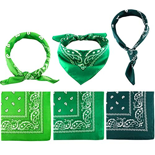 Blulu Paisley Bandanas Cowboy Bandanas Unisex Novelty Print Head Wrap Scarf Wristband for Adults and Kids (Assorted Green, 6 Pieces)