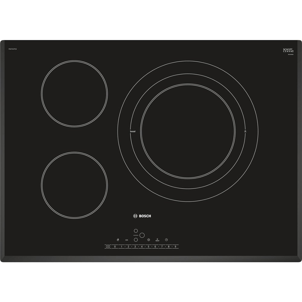 Bosch PKD751FP1E hobs Negro Integrado Cerámico - Placa (Negro, Integrado, Cerámico, Cerámico, Alrededor, 14,5 cm)