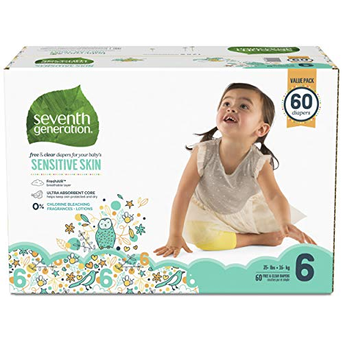 Seventh Generation Baby Diapers for Sensitive Skin, Animal Prints, Size 6, 60 Count (Seventh Diapers Size 6 Generation)