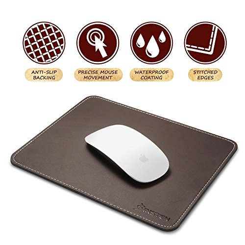 (Insten Premium Leather Mouse Pad with Waterproof Coating, Non Slip & Elegant Stitched Edges,)