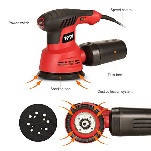 SPTA Random Orbit Sander, 2.4A 280W 5-Inch 6 Variable Speed Orbital Sander/Polisher Electric Sander,With 2 Polishing Buffing Pads and 12 Sanding Discs Kit for Home Decoration and DIY by SPTA (Image #3)