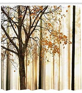 Abakuhaus Otoño Cortina de Baño, Foto de un Árbol Solitario con Hojas Anaranjadas en Fondo Abstracto de Bosque,…