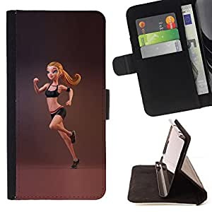 Jordan Colourful Shop - Sport Fitness Fit Woman Gymnast Running For Apple Iphone 4 / 4S - Leather Case Absorci???¡¯???€????€???????&b