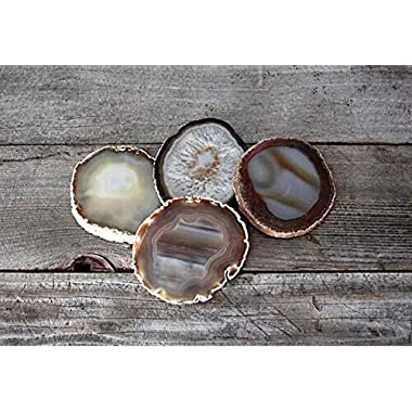 Dia 100% Natural Sliced Agate Coaster Set of 4 for Best Friend Agate Gifts