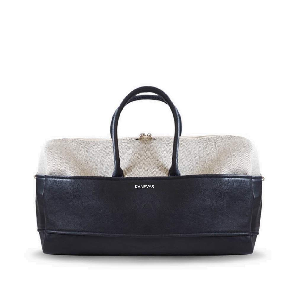 KANEVAS Claude Weekender Bag for Women Textured Vegan Leather /& Cotton Travel Bag Perfect Gift Ideas for Women