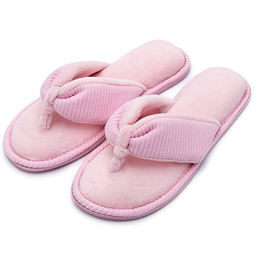 RockDove Women's Memory Foam House Spa Thong Slippers Pink