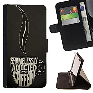 King Case - FOR Sony Xperia M2 - Addicted to caffee - Prima caja de la PU billetera de cuero con ranuras para tarjetas, efectivo Compartimiento desmontable y correa para la mu?eca
