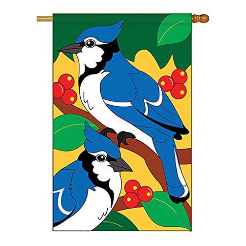 Breeze Decor Two Group H105028-P2 Blue Jays Garden Friends Birds Applique Decorative Vertical 28