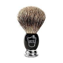 "Parker Safety Razor Handmade Deluxe ""Long Loft"" 100% Pure Badger Shaving Brush with Black & Chrome Handle - Brush Stand Included"